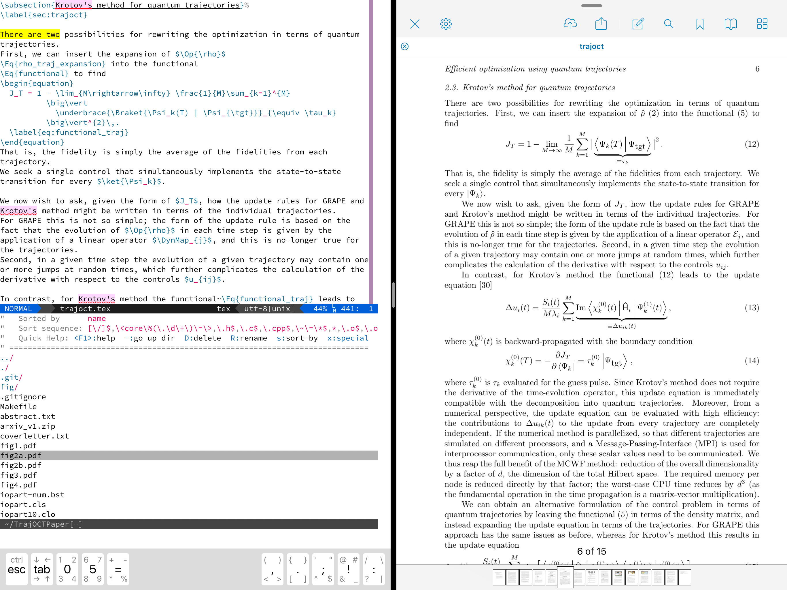 Editing LaTeX on the iPad with iVim - Michael Goerz